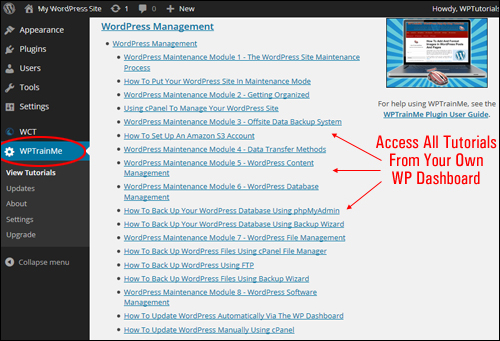 Learn How To Manage Your WordPress Site - WPTrainMe Plugin