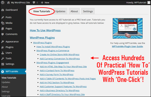 WPTrainMe.com WordPress Training Plugin - PRO Edition