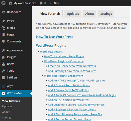 WPTrainMe.com PRO Edition gives you instant access to hundreds of detailed WordPress tutorials