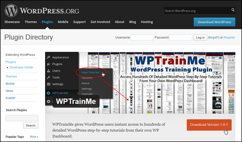 Download the FREE WPTrainMe plugin From WordPress.org