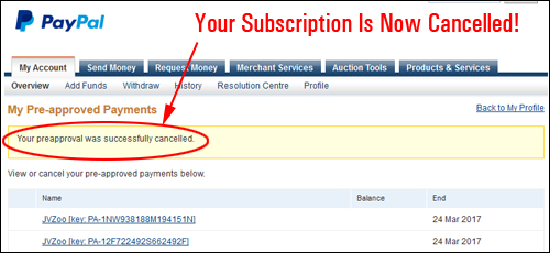paypal how to cancel a subscription