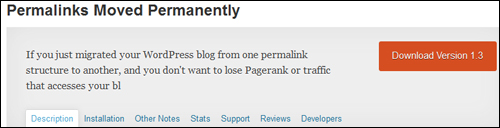 WordPress Plugin - Permalinks Moved Permanently