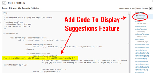 Edit Your WordPress To Display Suggestions Feature