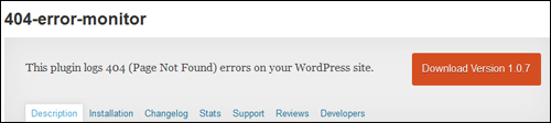 WordPress Plugin - 404 Error Monitor