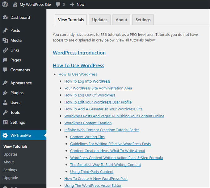 WPTrainMe plugin's tutorials can be instantly accessed directly inside your WP dashboard!