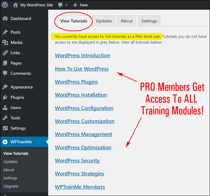 WPTrainMe.com WordPress Training Plugin - PRO Edition