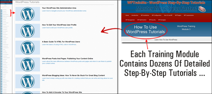 WPTrainMe WordPress tutorials are organized into logical training modules.