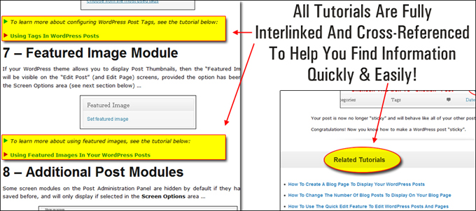 WPTrainMe tutorials link to other related tutorials.