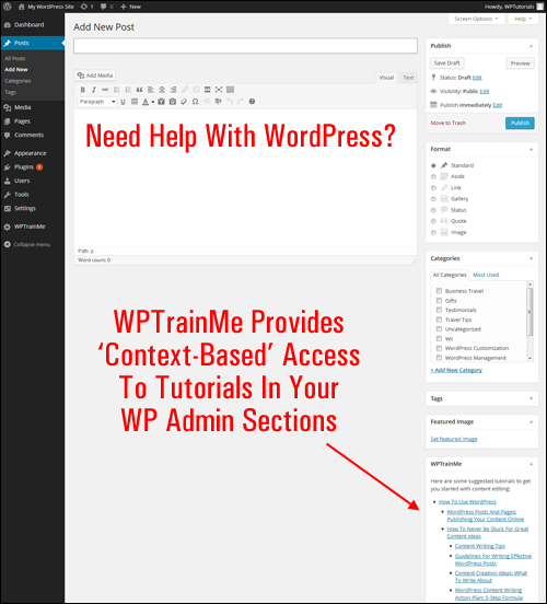 WPTrainMe Provides 'Context-Based' Access To Tutorials In Your WP Admin Sections