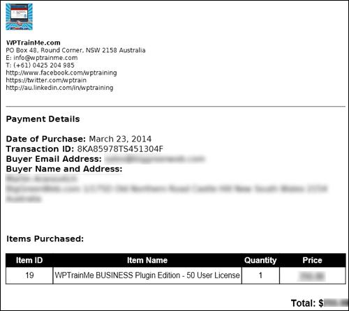 WPTrainMe Plugin Purchase Receipt