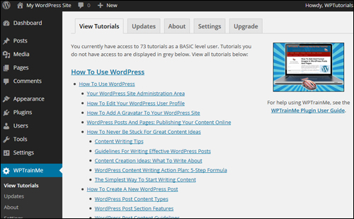 Access WordPress tutorials from your own WP dashboard.