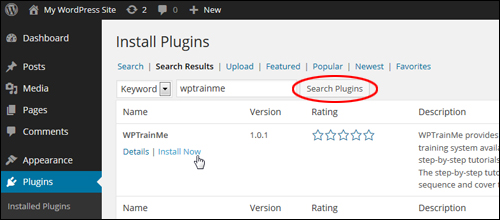 Install The WPTrainMe Plugin From Your WP Dashboard