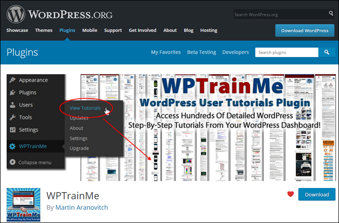 WPTrainMe - WordPress User Tutorials Plugin