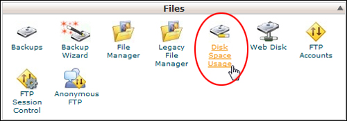 cPanel - Disk Space Usage