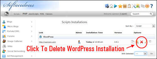 Softaculous WordPress Installation Removal