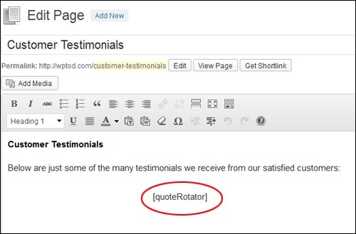 Add testimonials using shortcodes
