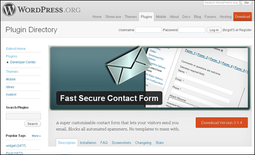 Fast Secure Contact Form WordPress plugin