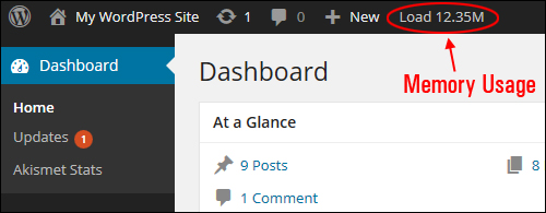 Information displayed in your WordPress admin toolbar