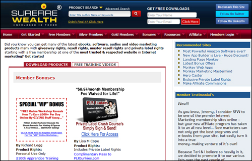 SureFire Wealth - Resell Products & PLR Content Membership Site