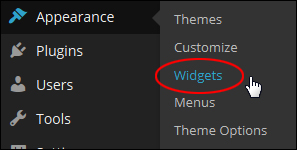 WordPress Menu: Appearance > Widgets