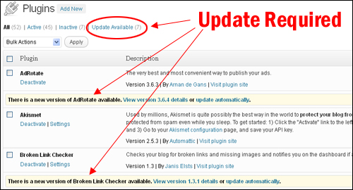 Updating WordPress Plugins