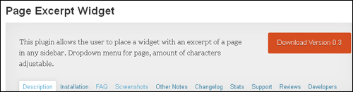 WordPress Plugin - Page Excerpt Widget