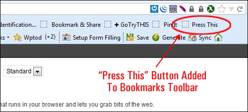 Press This button added to Bookmarks Toolbar