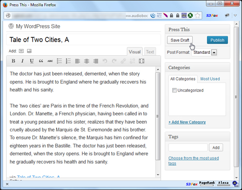 WordPress Content Creation: How To Use Press This For WordPress