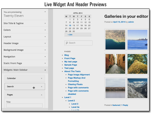 WordPress 3.9 - Live Widget And Header Previews