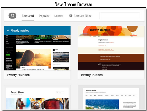 WordPress 3.9 - New Theme Browser